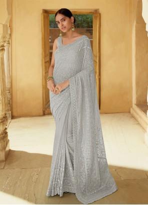Georgette Grey Classic Designer Saree