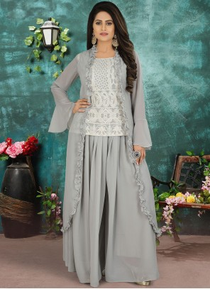 Georgette Grey Designer Suit
