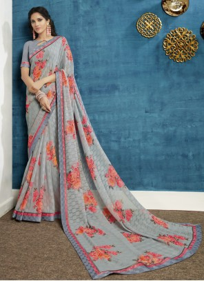 Georgette Grey Floral Print Bollywood Saree
