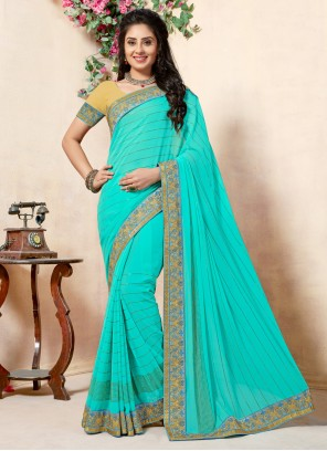 Georgette Lace Turquoise Classic Saree