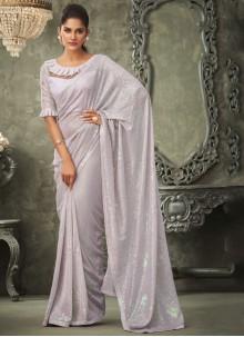 Georgette Lavender Sequins Classic Saree