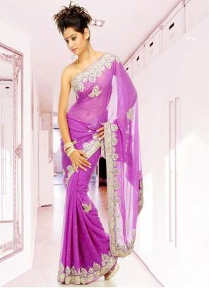 Georgette Lavender Designer Saree