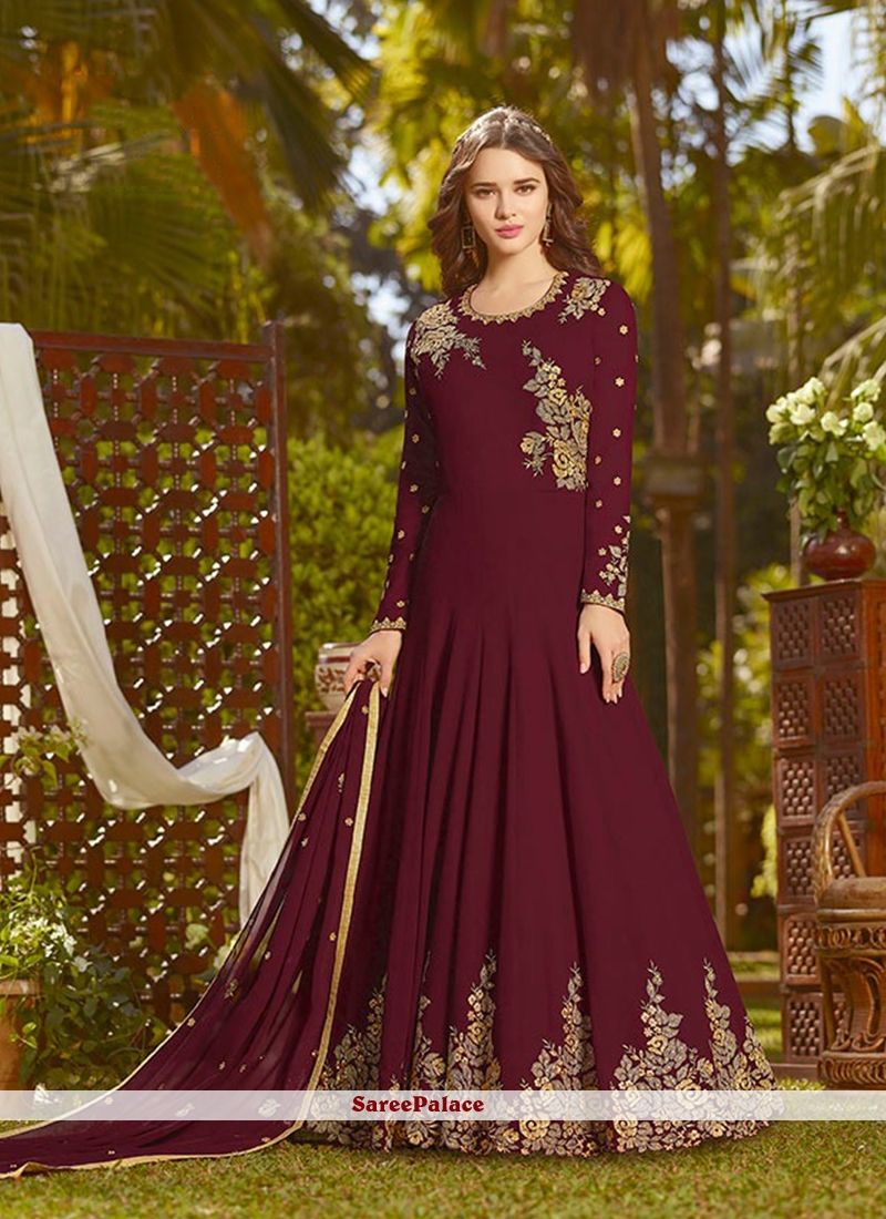 Georgette Maroon Designer Salwar Suit