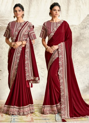 Georgette Maroon Embroidered Designer Traditional Saree