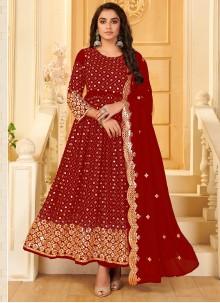 Georgette Mirror Anarkali Salwar Suit in Red