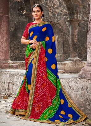 Georgette Multi Colour Border Designer Bollywood Saree