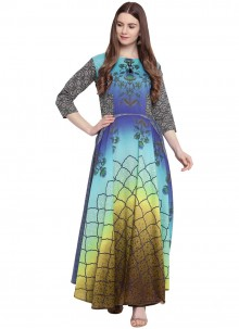 Georgette Multi Colour Readymade Trendy Gown