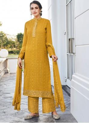 Georgette Mustard Bollywood Salwar Kameez