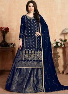 Georgette Navy Blue Embroidered Lehenga Choli