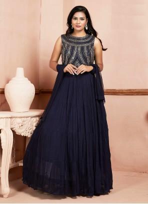 Georgette Navy Blue Readymade Suit