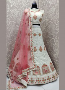 Georgette Off White Designer Lehenga Choli