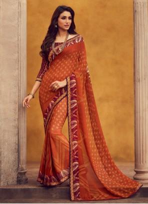 Georgette Orange Contemporary Saree