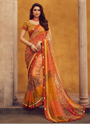 Georgette Orange Printed Designer Traditional Saree