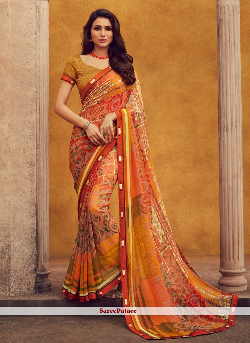 Georgette Orange Printed Designer Traditional Saree