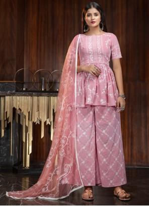 Georgette Palazzo Salwar Suit in Pink