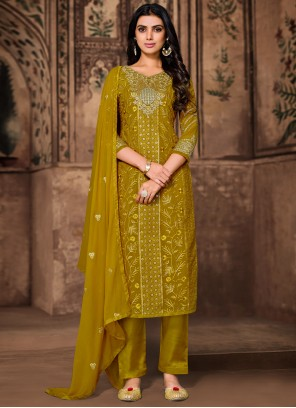 Georgette Pant Style Suit in Green