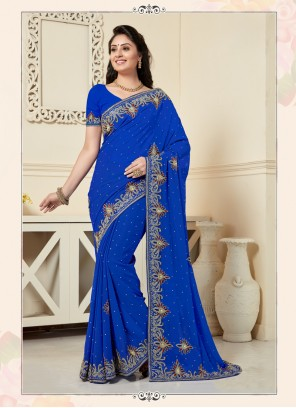 Blue Georgette Party Designer Traditional Saree
