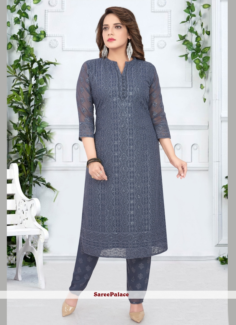 Grey Georgette Party Salwar Suit
