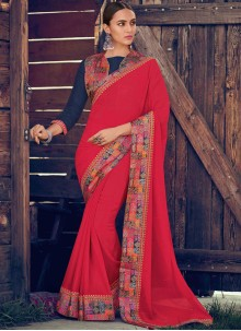 Georgette Pink Border Trendy Saree