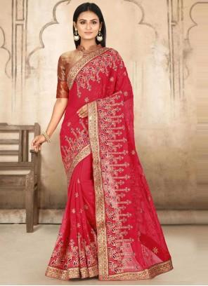 Georgette Pink Designer Traditional Saree