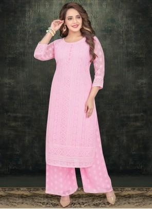 Georgette Pink Embroidered Designer Salwar Kameez