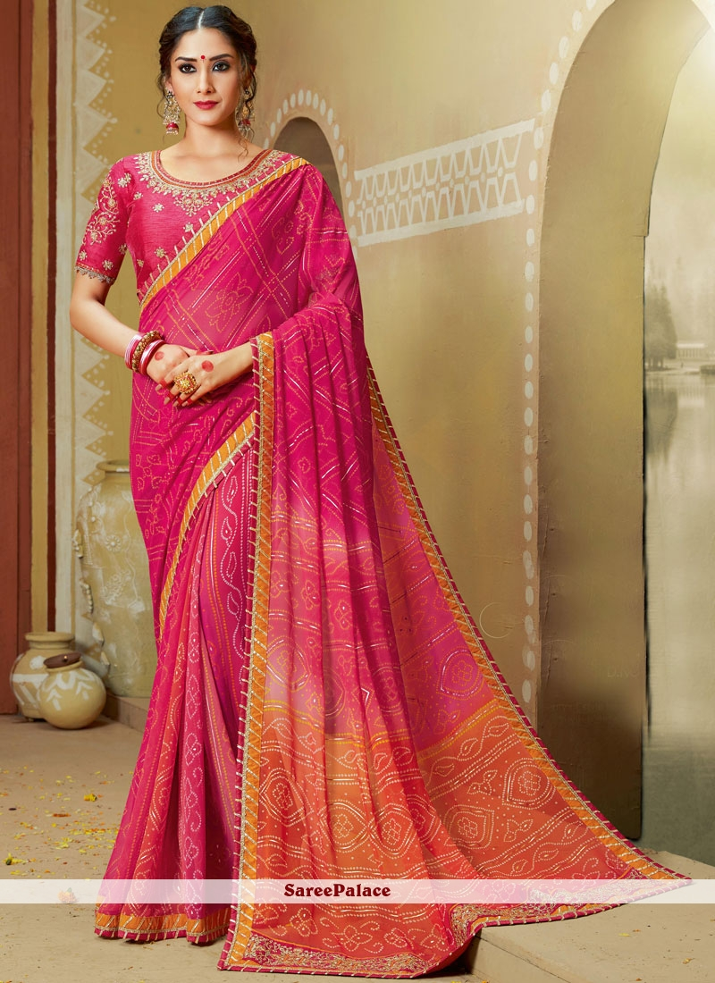 Georgette Pink Embroidered Printed Saree