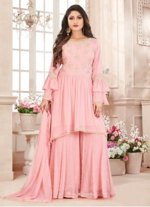Georgette Pink Embroidered Salwar Suit