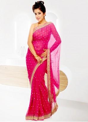 Georgette Pink Handwork Designer Saree