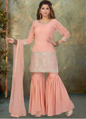 Georgette Pink Readymade Suit