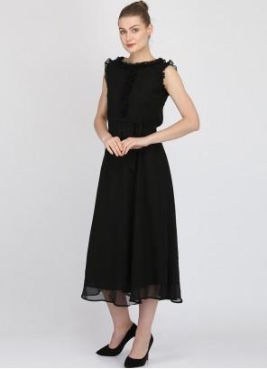 Georgette Plain Black Casual Kurti