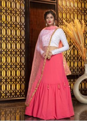 Georgette Plain Designer Lehenga Choli in Pink