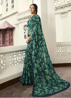 Multi Colour Georgette Printed Contemporary Saree