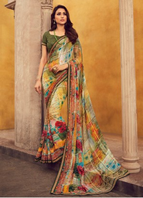 Multi Color Georgette Printed Designer Contemporary Saree