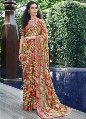 Georgette Printed Designer Saree in Multi Colour