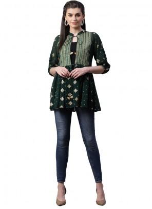 Georgette Printed Green Designer Kurti