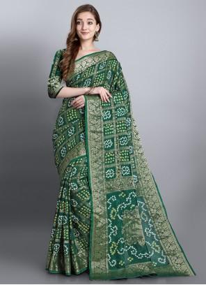 Georgette Printed Green Designer Traditional Saree