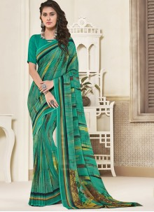 Georgette Printed Green Saree