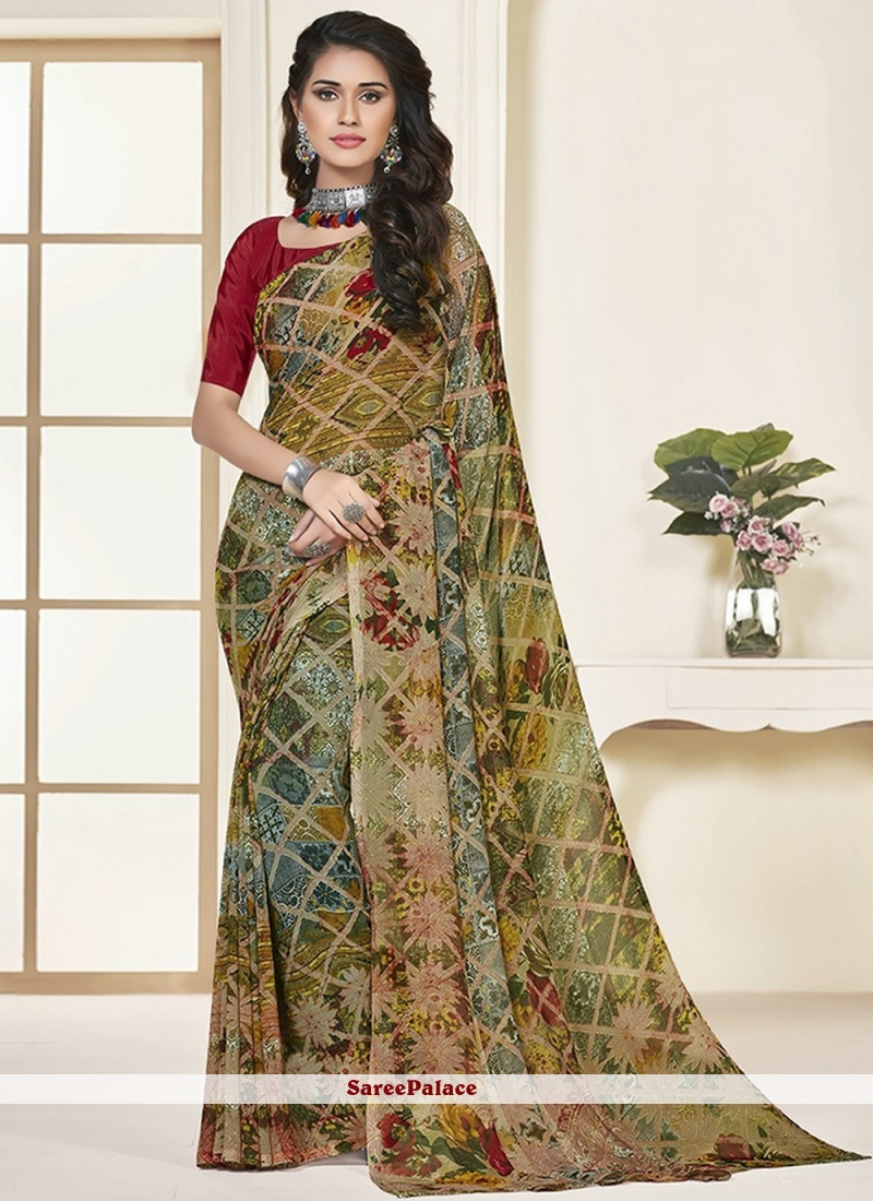 Georgette Printed Multi Colour Saree