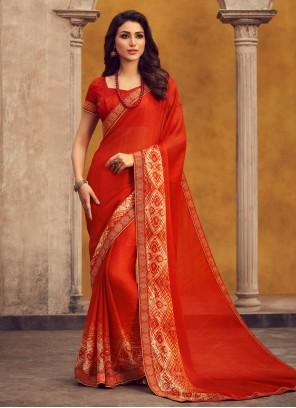 Georgette Printed Orange Bollywood Saree