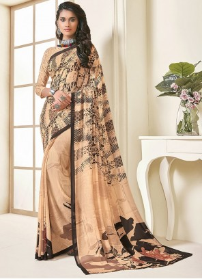 Georgette Printed Peach Saree