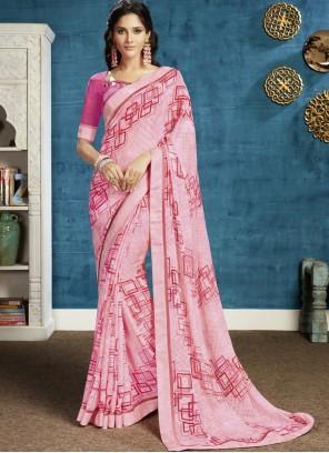Georgette Printed Pink Classic Saree