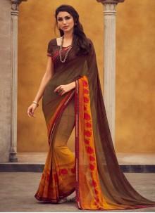 Brown Georgette Printed Trendy Saree