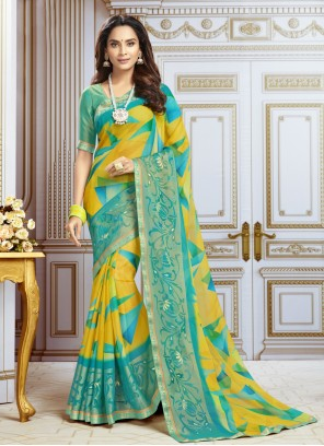 Multi Colour Georgette Printed Trendy Saree