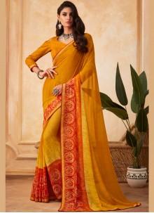 Georgette Printed Yellow Designer Saree