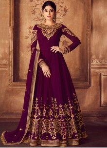 Georgette Purple Embroidered Anarkali Salwar Kameez
