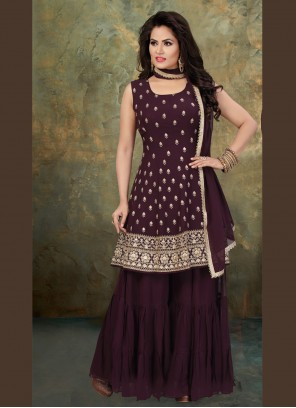 Georgette Purple Embroidered Readymade Suit