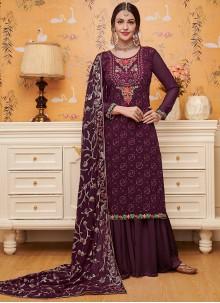 Georgette Purple Salwar Suit