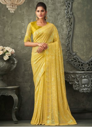 Yellow Georgette Sequins Reception Traditional Saree
