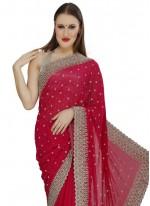 Georgette Red Designer Saree