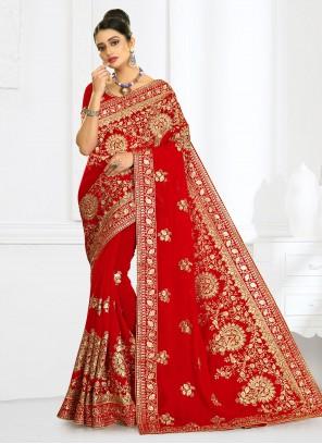 Georgette Red Embroidered Designer Bridal Sarees